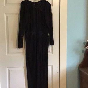 Black long length evening dress.